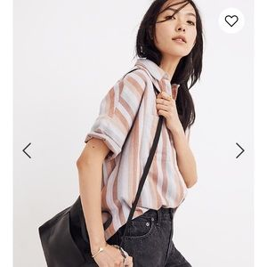 Madewell Flannel Courier Shirt in Sunrise Stripe
